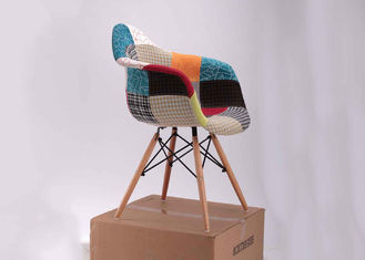 Modern Style Pretty Patchwork Accent Chair Wooden Frame Fabric Cover